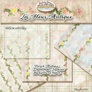 Les Fleurs Antique, digital scrapbooking papers, card making, and crafting kit
