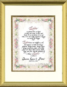 Personalized Calligraphy Wedding Framed Print, 1 Corinthians 13
