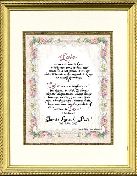 Personalized Calligraphy Wedding Framed Print 1 Corinthians 13