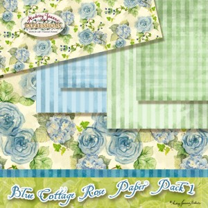 Blue Cottage Rose Paper Pack 1