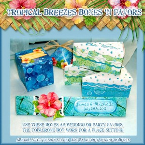 Tropical party, wedding party favors, gift boxes, candy wrapper
