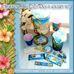 Tropical paint can, gallon can, quart can, altered paint cans, candy wrappers, digital clip art kits