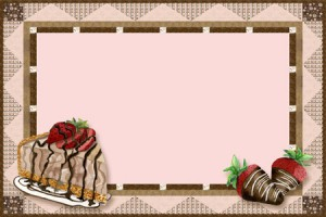 Free Recipe Card Chocolate cheescake, chocolate covered strawberries digital clip art