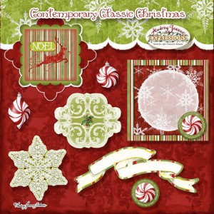 audrey jeanne roberts, contemporary classic christmas, peppermint candy, digital clip art, reindeer, snowflakes