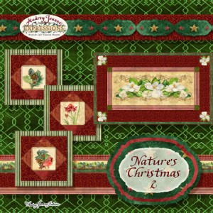 audrey jeanne roberts, quilt, quilted, quilt-inspired, magnolias, amaryllis, red cardinals, pine boughs, holly berry,