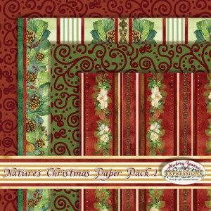 audrey jeanne roberts, red swirls, magnolia swags, stripes, pine bough stripes, scrapbooking paper pack