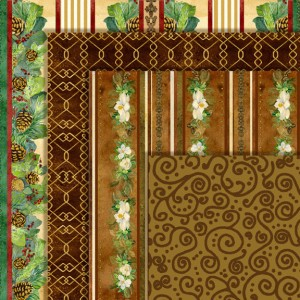 audrey jeanne roberts, brown and tan swirls, trellis pattern, magnolia swags, stripes, pine bough stripes, scrapbooking paper pack