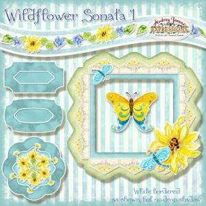 audrey jeanne roberts, Wildflower Sonata 1 whimsical butterfly, sunflower and wildflower digital clip art kit