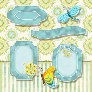 digital scrapbooking tags, paper, sunflower, whimsical butterfly, dragonfly, flower circles