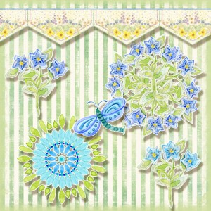 whimsical wildflower circles, wildflower border, dragonfly