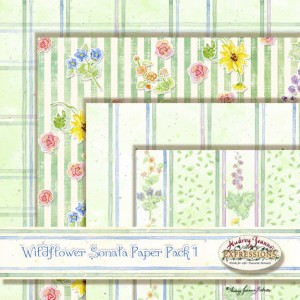 Digital clip art scrapbooking paper, Wildflower Sonata, sunflowers, roses wildflowers.