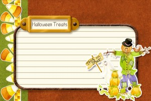 Free digital printable recipe card halloween, scarecrow, pumpkin, trick or treat, candy corn