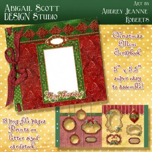 christmas instant scrapbook album mini digital clip art kit
