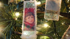 Vintage Christmas Microscope Slide Ornament 1
