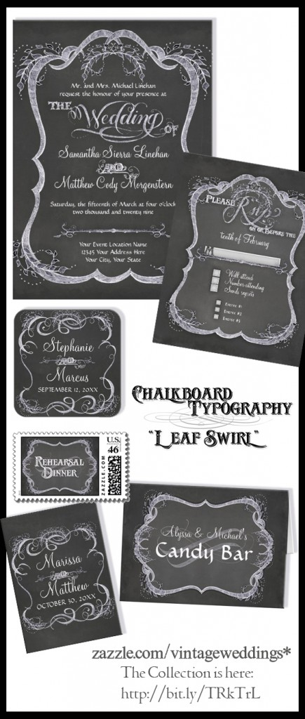 Chalkboard Typographic Style Wedding Invitation Set, with Calligraphy Flourish Swirls and leaves.