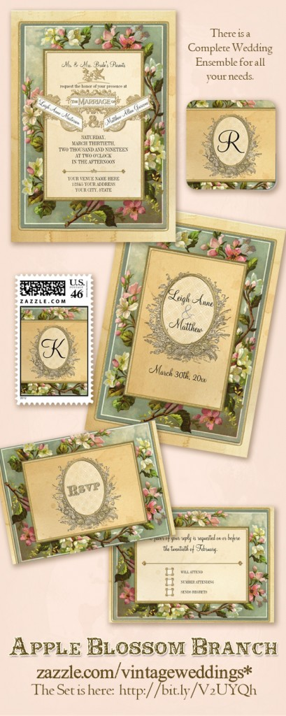 Vintage typography with apple blossoms and tree branch