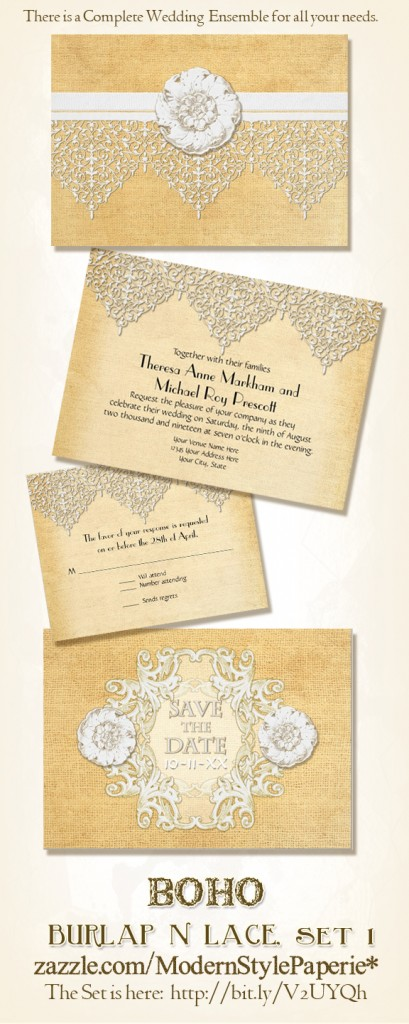 BOHO Bohemian Trendy Stylish Chic Burlap and Lace Wedding Invitations Set
