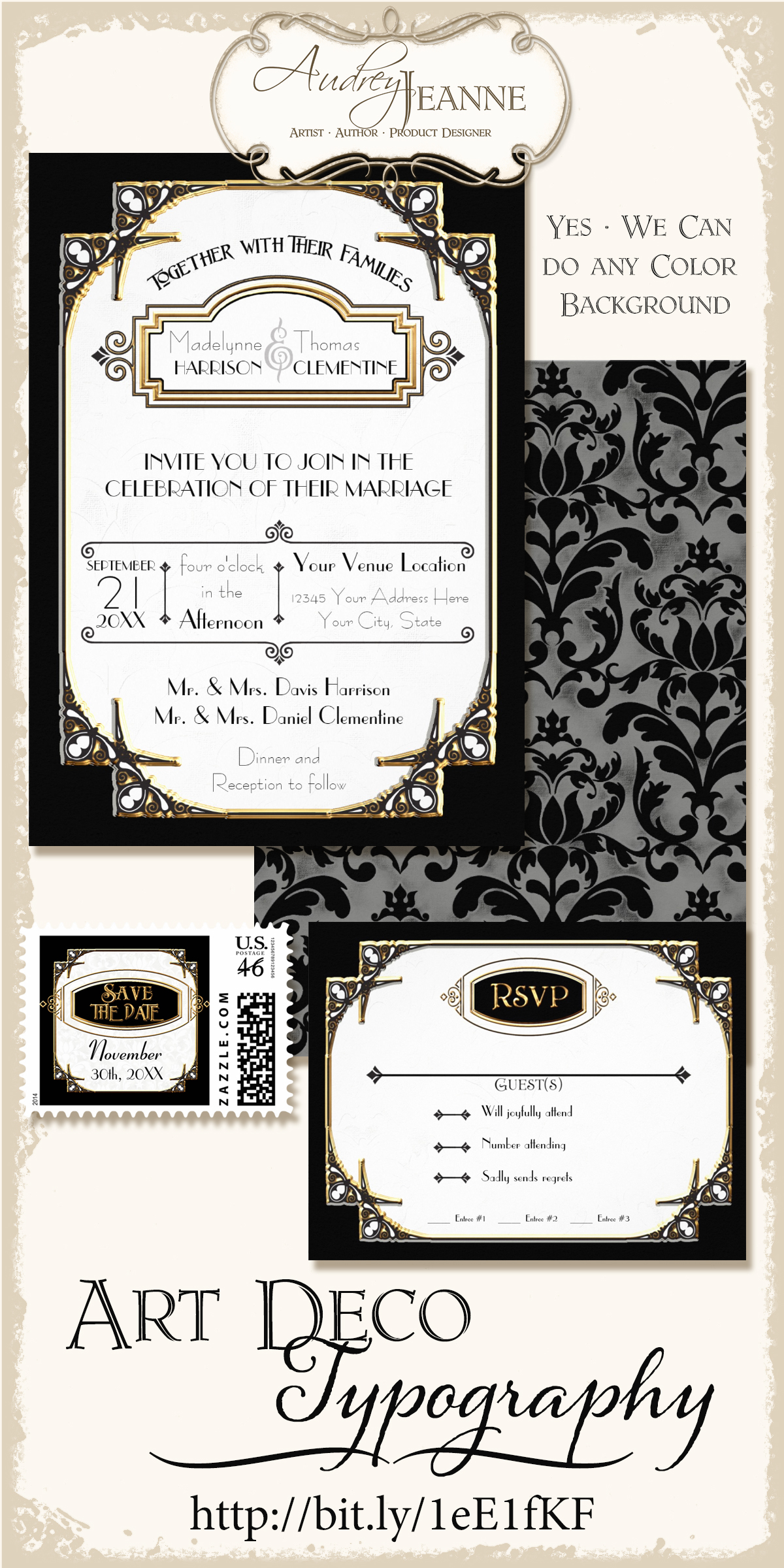 Our Newest Art Deco Wedding Invitations | Audrey Jeanne\'s Expressions