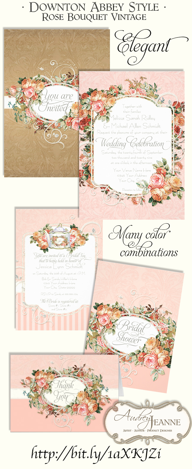 Downton Abbey style, Vintage English Roses Wedding Invitation Set.