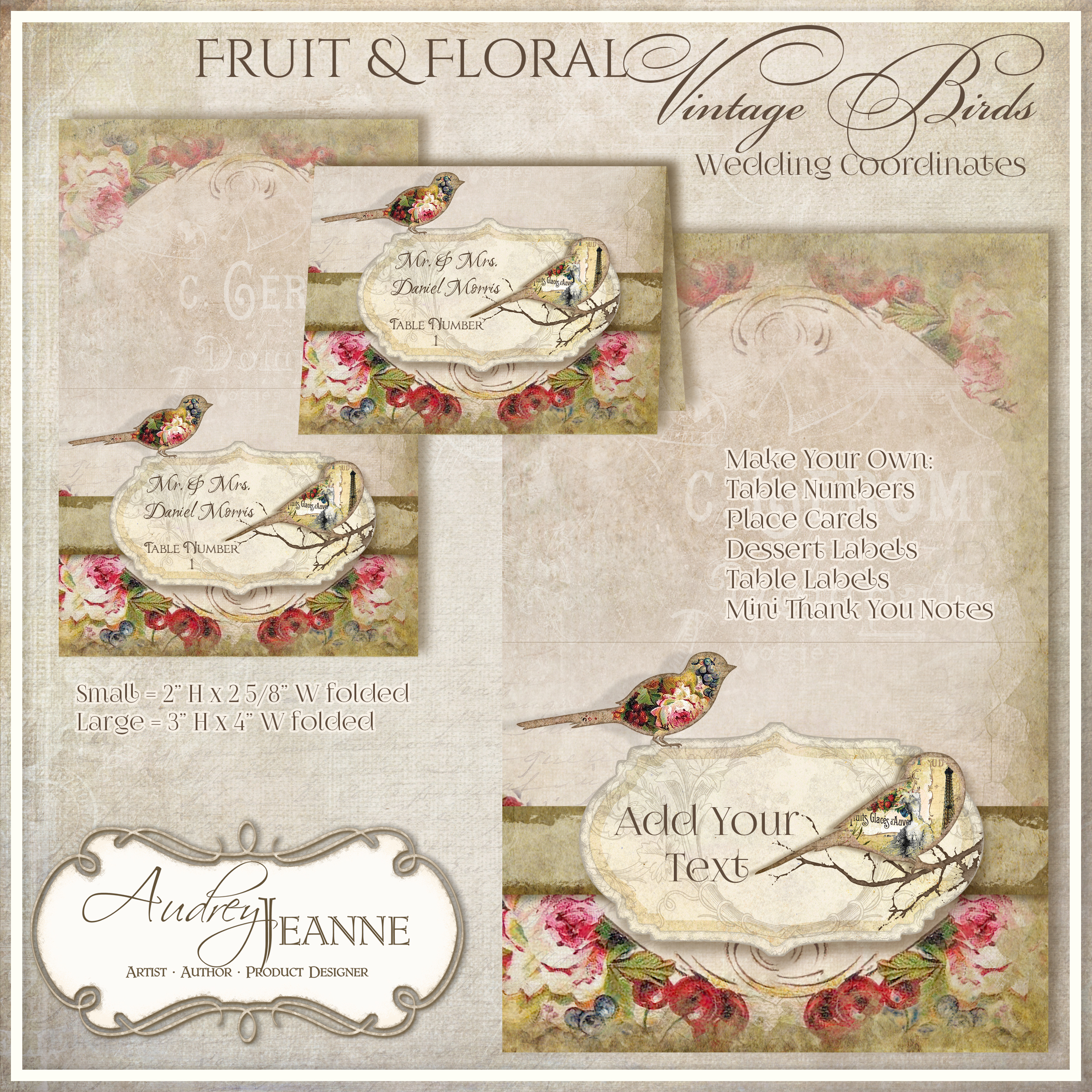 Birds on a Wire Vintage Modern Wedding Invitation Theme Audrey